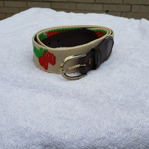 Vintage belt with strawberry embroidery & buckle